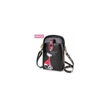 Imagem de Bolsa feminina de couro pu de couro oleado com cera Crossbody Bolsa padrão de gato Bolsa móvel bolsa tipo carteira Vinho vermelho tipo B