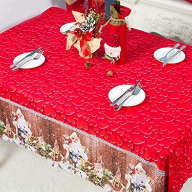 Imagem de MuYiYi11 Toalha de mesa com tema de Natal, toalha de mesa de jantar 3D, decoração de festa de Natal para casa, 150 x 180 cm, 2
