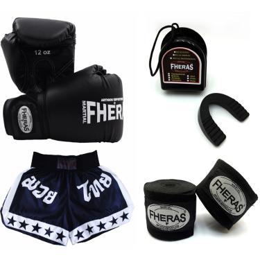 Kit Muay Thai Fheras Luva Bandagem Bucal Shorts 10oz Preta