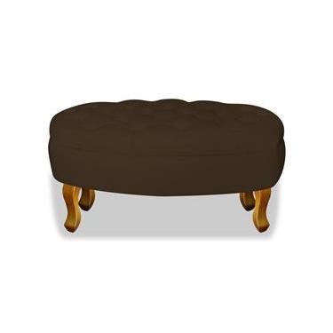 Puff Puf Pufe Banqueta Decorativo Jade Luis XV para Sala de Estar Corano Marrom - AM Decor