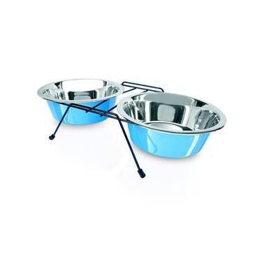 Comedouro Bebedouro Cães Gato Duplo Inox Suporte Azul 480Ml