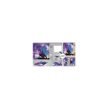 Imagem de 4/3/1 pcs Conjunto de banheiro com impressão de dinossauro Cortina de chuveiro à prova d'água 3 peças antiderrapantes Tapetes de banho Tapetes de banho Conjunto de capa de assento de banheiro apenas esteiras