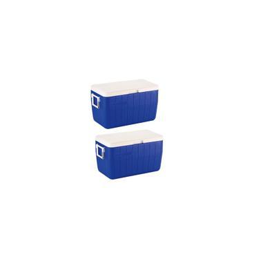 Imagem de Caixa Térmica 48 qt Tampa Articulada 45,4 Litros Azul 2 Unidades Coleman