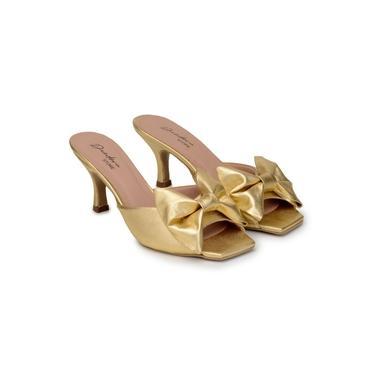 Tamanco Feminino Couro Liso Metalizado Laço Conforto Casual Dourado