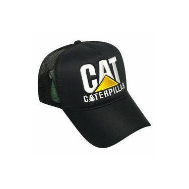 Boné Caterpillar Estilo Country Preto Trucker cd2894038ff