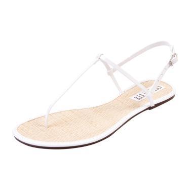 Rasteira Free Flats T-Strap Palha Com Verniz Branco  feminino