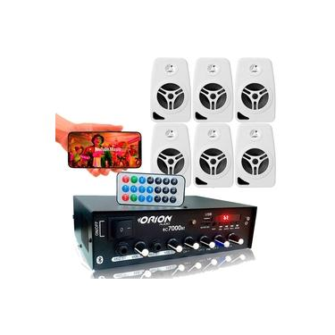 Kit Som Ambiente 500 Watts Bluetooth +6 Caixas Parede Branca
