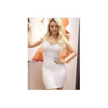 Vestido Miss Misses alça bojo Branco/Prata
