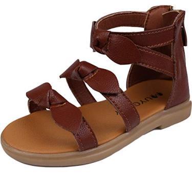 Muy Guay sandália gladiadora com laço e bico aberto para o verão com zíper e tiras para bebês e meninas, Brown-b, 8.5 Toddler