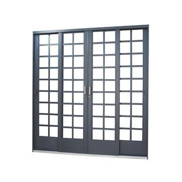 Porta de Correr Quadriculada em Aço 4 Folhas 2 Fixas MGM Carrara 2,15mx2,00m - Requadro 12cm Primer