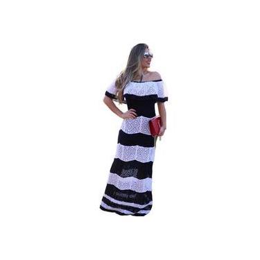 Vestido Longo Ciganinha De Trico Tomara Que Caia Rendado Listrado