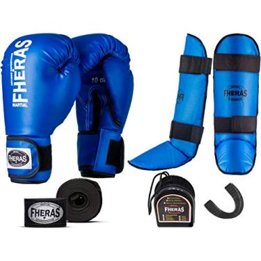 Kit Muay Thai Luva Bandagem Caneleira Bucal Azul 14Oz Fheras