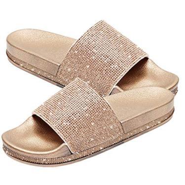 Imagem de Holibanna Sandália de strass larga para mulheres 2021 casual elegante verão glitter chinelos modernos com suporte de arco e sola macia confortável, Dourado, 6