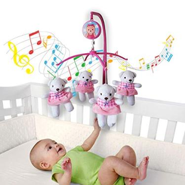 Imagem de Móbile Giratório Musical Berço Bebê Menina Bailarina Rosa