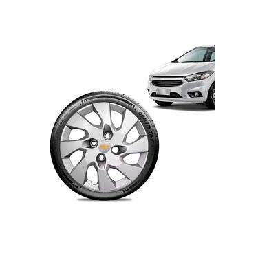 Calota Chevrolet GM Prisma 2013 14 15 16 Aro 14 Prata Emblema Prata