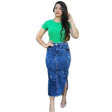 saia jeans midi evangélica Cor:azul;Tamanho:40