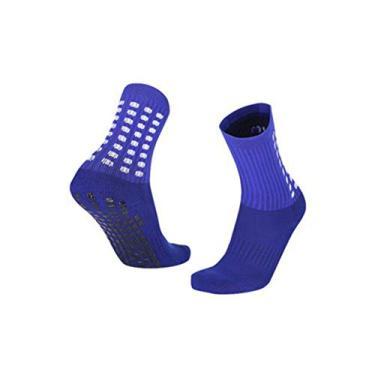 Imagem de kaaka Meias esportivas, meias unissex de algodão respirável antiderrapante para esportes ao ar livre, corrida futebol azul