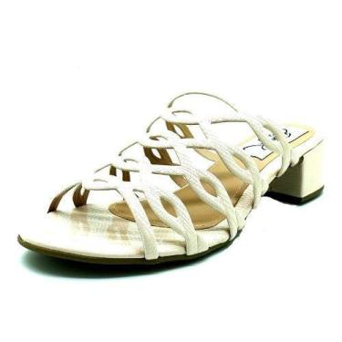 Sapatos Femininos Tamanco Saltinho Laser Dani K Tamanho:42;Cor:Creme