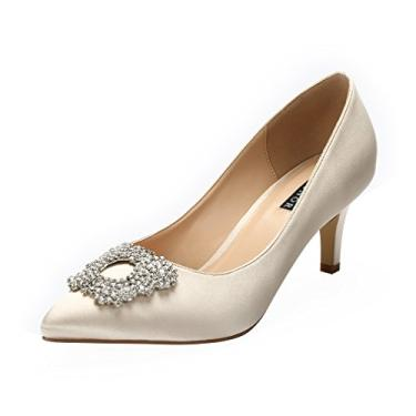 ERIJUNOR Sapato feminino de cetim com salto baixo e strass, Champagne, 10