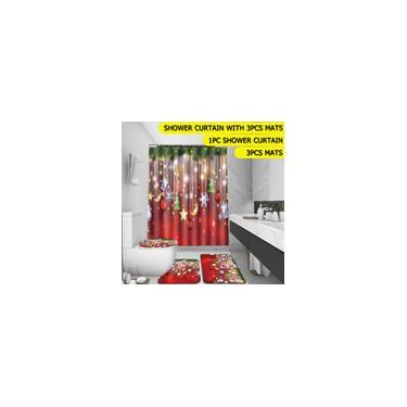 Imagem de 4 peças de banheiro Feliz Natal Boneco de neve Papai Noel Pai Bell Elk Cortina de chuveiro impermeável Tapete de cobertura de banheiro Tapete antiderrapante