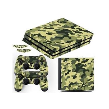 Adesivo Skin Playstation 4 Pro Camuflado Exército Verde