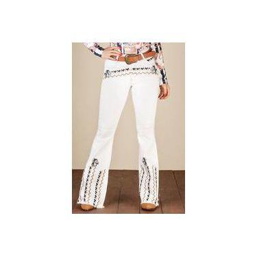 Calça Jeans Off White Feminina Flare Minuty 19423