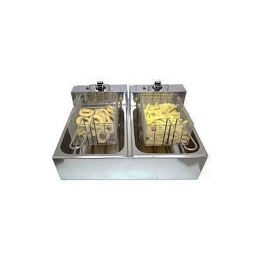 Fritadeira Elétrica 2 Cubas 10 Litros INOX - 220V ou 110v BONI