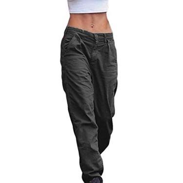 Abeaicoc Calça cargo feminina de algodão, ajuste solto, cintura alta, elástica, plus size, Preto, XX-Large