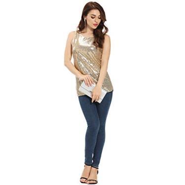 Blusa feminina de lantejoulas brilhantes, sem mangas, gola redonda, camisola brilhante, regata de lantejoulas para mulheres, Champagne, Large