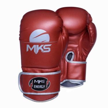 Luva De Boxe Mks Energy V2 Metalic Red Vermelho Metal 18 Oz