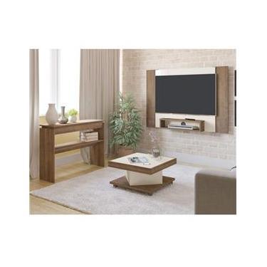 Sala de Estar com Painel para TV até 40 Polegadas Mesa de Centro Saara e Aparador Creta Artely Pinho/Off White