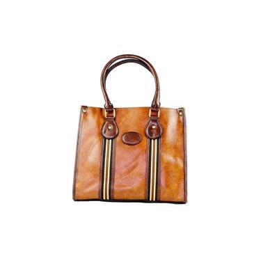 Bolsa feminina Versalhes caramelo com ziper alça de mão e tranversal detalhes em dourado