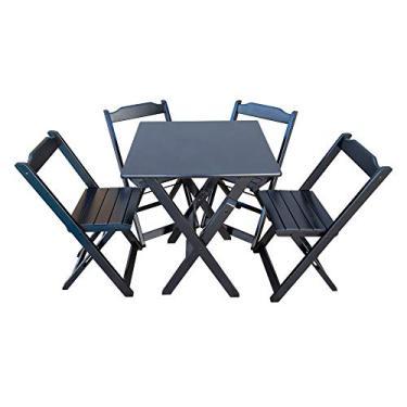 Mesa De Madeira Bar Dobrável 70 x 70 4 Cadeiras