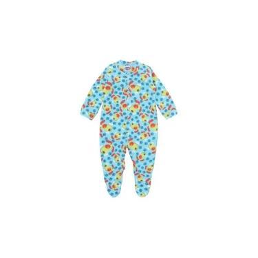 Macacão Pijama Infantil Cachorrinho com Pezinho Antiderrapante Azul Verde