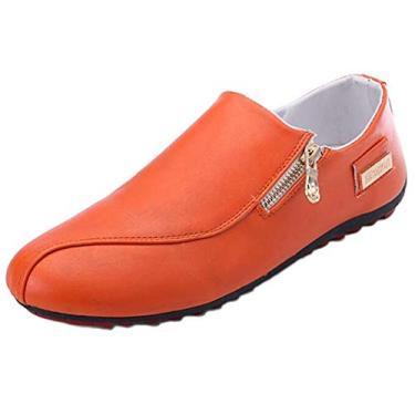 WUIWUIYU sapato mocassim masculino casual fashion com zíper Oxfords sem cadarço confortável para dirigir sem salto, Laranja, 7.5