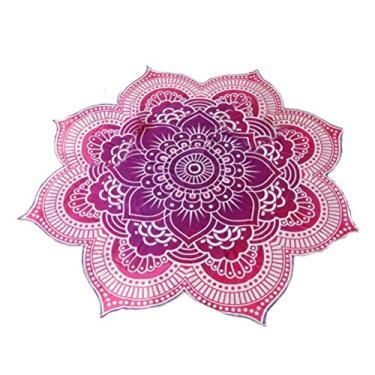 Imagem de Nuolux Toalha de praia, tapeçaria de mandala, formato de flor de lótus, toalha redonda hippie cigana boho para ambientes externos, toalha de mesa, tapete de ioga para pendurar (roxo), Violeta