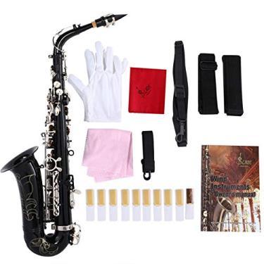 Imagem de Conjunto de saxofone, Saxofone Mediant Eb Saxofone Alto com Acessórios Preto, Trompete