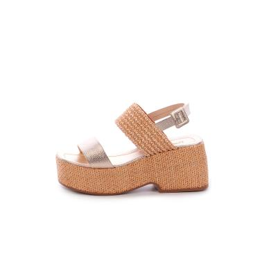 Imagem de Sandália Salto Palha de Tiras Damannu Shoes Karina Dourado  feminino