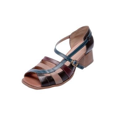 Sandália Pierrô bico quadrado salto baixo couro marrom azul-marinho taupe