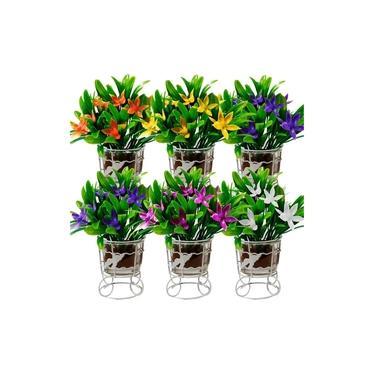 5 Arranjo De Flores Artificial Decorativo Castiçal Aramado