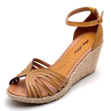 Sandália DR Shoes Anabela Amarelo  feminino