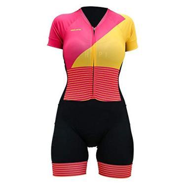 Macaquinho Ciclismo Hupi Citrino Manga Curta, Cor: Rosa/amarelo, Tamanho: Gg