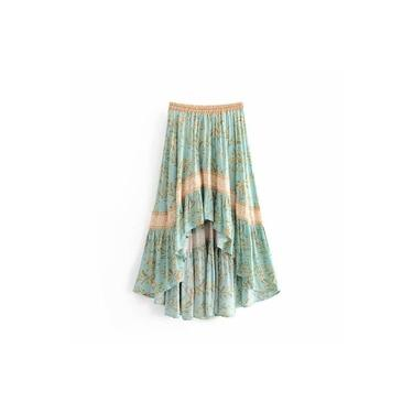 Moda verão turquesa vestido plissado chique assimétrica boho floral cintura elástica vestido de praia feminino party dress