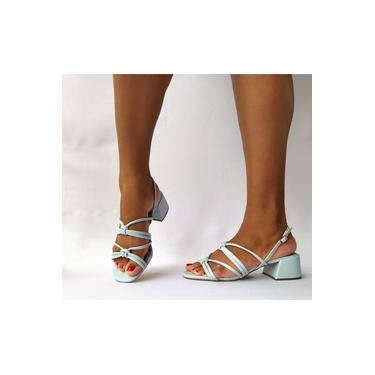 Sandália Azul Bebê Salto Baixo Grosso 5cm Tiras Trançadas