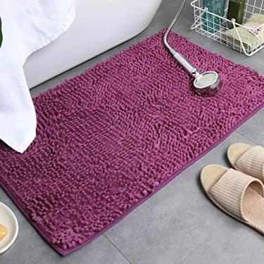 Imagem de giveyoulucky Tapetes de banheiro Absorventes Antiderrapantes Tapetes de banheiro de pelúcia para sala de estar/cozinha Roxo profundo 6090 cm