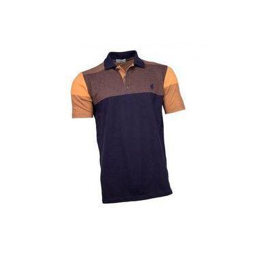 Camisa Polo Masculina Azul Marinho Laranja de034bc10023f
