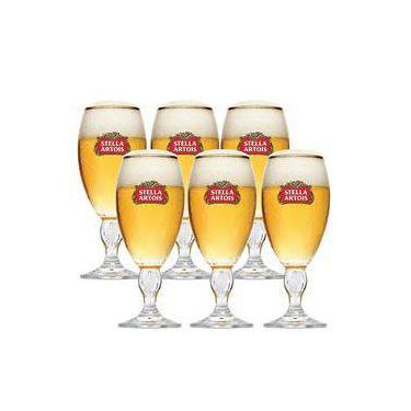 Kit 06 Taças De Vidro Stella Artois Para Cerveja 250ml