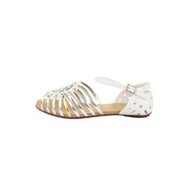 Sandália Sedução Tiras Branca/Prata  feminino