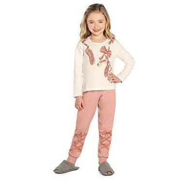 Pijama Infantil Feminino Bailarina Kids Bege 8