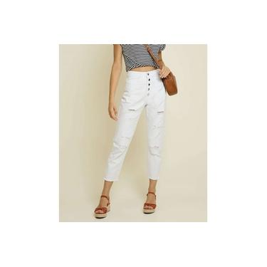 Calça Mom Jeans Feminina Destroyed Capri Razon